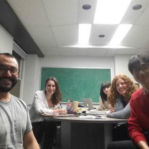 Convergence work meeting, December 2016 | From left to right, Cristian Zaelzer Ph.D., Kimberly Glassman (Art Historian Oxford), Marnie Guglielmi-Vitulo (Art Historian), Valérie Hénault (Art Historian & Administrator), Kevin Jung-Hoo Park (Filmaker).